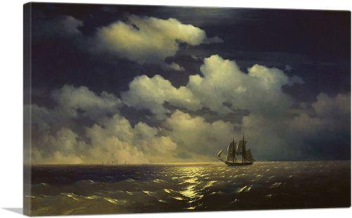 Sailing Ship in Moonlight