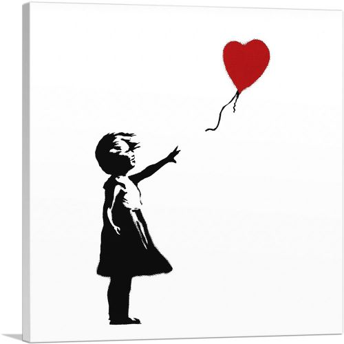 Girl with Balloon (white background Square)