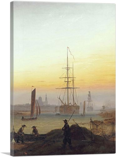Ships in the Harbor of Greifswald 1820
