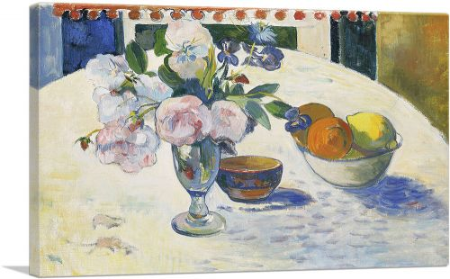 Flowers and a Bowl of Fruit on a Table 1894