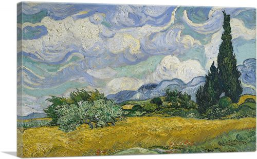 A Wheatfield with Cypresses  1889