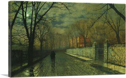 Figures in a Moonlit Lane After Rain