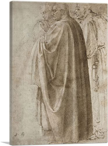 Three Standing Men in Wide Cloaks Turned to the Left 1496