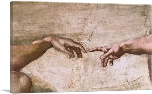Sistine Chapel Ceiling - God and Adam Hands Detail