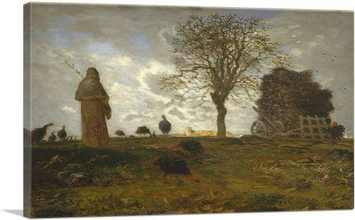 Autumn Landscape with a Flock of Turkeys 1873