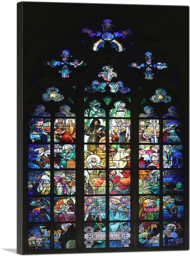 Glass Window of Alphonse Mucha in the St. Vitus Cathedral