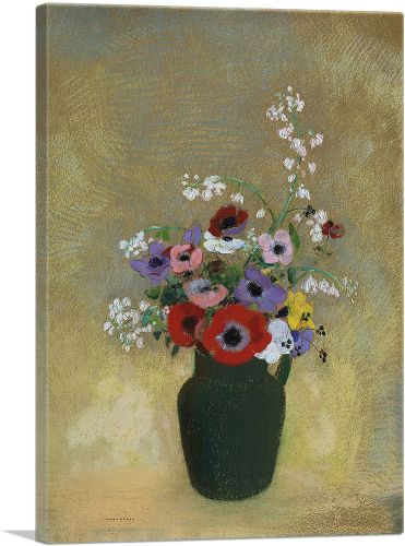 Large Green Vase with Mixed Flowers 1912
