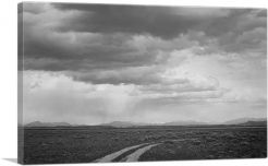 Roadway and Clouded Sky Near Grand Teton National Park - Wyoming