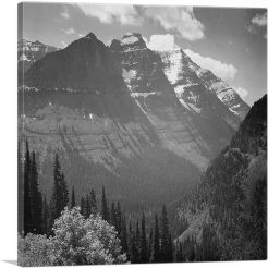 Snow Covered Mountains - In Glacier National Park - Montana-1-Panel-26x26x.75 Thick
