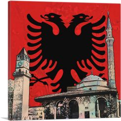 Et'hem Bey Mosque Clock Tower with Albanian Two-Headed Eagle Crest