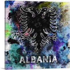 Flag of Albania Black Blue Splatter