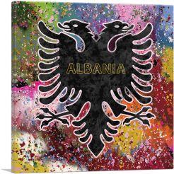 Flag of Albania Colorful Splatter