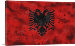Flag of Albania Country in the Balkans Red Grunge-1-Panel-40x26x1.5 Thick
