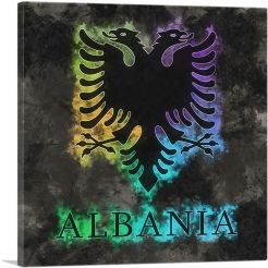 Flag of Albania on Black Background