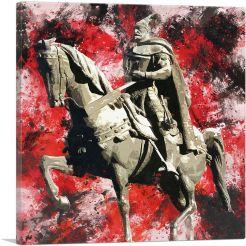 Skanderbeg Monument - George Castriot Albania Red Splatter