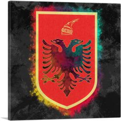 Albanian Coat of Arms with Colorful Glow