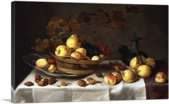 A basket With Fruit, a Silver Plate With Peaches and Pears