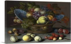 Fruit Basket With Blue Plates and Cherries 1622