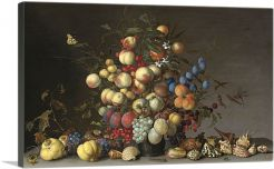 Peaches and Fruits in a Pewter Vase