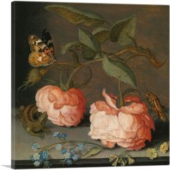 Still Life With Roses, Butterfly and a Grasshopper
