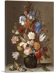 Flowers in Vase With Lizard 1630