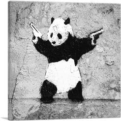 Panda with Guns-1-Panel-26x26x.75 Thick