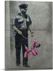 Police Guard Pink Balloon Dog