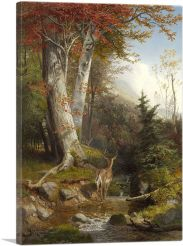 Mountain Stream and Deer 1865