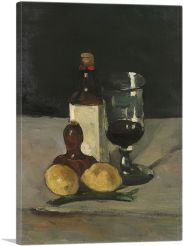 Still Life with Bottle, Glass and Lemons 1867