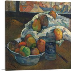 Bowl of Fruit and Tankard before a Window 1890