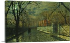 Figures in a Moonlit Lane After Rain