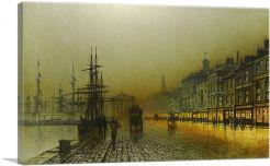 Greenock Harbour at Night 1893-1-Panel-12x8x.75 Thick