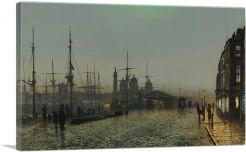 Hull Docks at Night 1880-1-Panel-12x8x.75 Thick