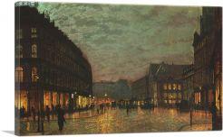 Boar Lane Leeds by Lamplight 1881-1-Panel-12x8x.75 Thick