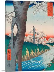 River and Cherry Blossoms - Fuji Sanju Rokkei 1858