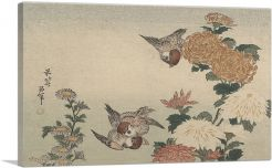 Sparrows and Chrysanthemums 1825