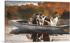 Hunting Dogs in Boat - Waiting for the Start 1889