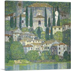 Church in Cassone - Landscape with Cypresses 1913