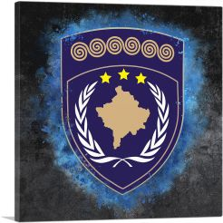 Kosovo Coat of Arms Colorful Splatter With Blue