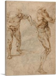 Two Nude Studies of a Man Storming Forward 1504