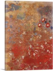 Red Flower - Floral Field-1-Panel-40x26x1.5 Thick