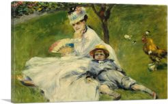 Madame Monet with Her Son and a Rooster 1874