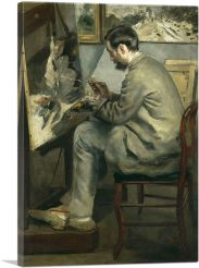 Portrait of Frederic Bazille Painting The Heron with Wings Unfurled 1867