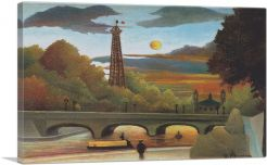 Seine and Eiffel-Tower in the Sunset 1910