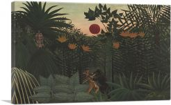 Exotic Landscape - Fight between Gorilla and Indian 1910