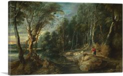 A Shepherd with His Flock in a Woody Landscape 1615