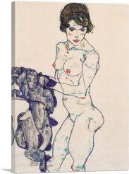 Standing Female Nude with Blue Cloth 1914