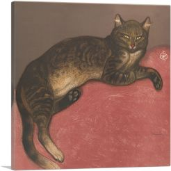 Winter Cat on a Cushion - Ausgestreckte Katze 1910