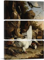 A Hunters Bag Near a Tree Stump With a Magpie - Contemplative Magpie-3-Panels-90x60x1.5 Thick