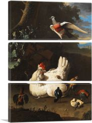White Hen and Chicks-3-Panels-90x60x1.5 Thick